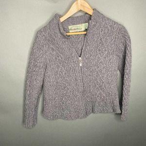 Aran Crafts Grey Zip Up 100% Merino Wool Jacket S